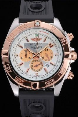 Breitling Chronomat White Dial Rose Gold Bezel And Subdials Stainless Steel Case Black Rubber Strap Breitling Chronomat