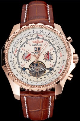 Breitling For Bentley Mulliner Tourbillon White Dial Rose Gold Case Brown Leather Strap Fake Breitling Bentley