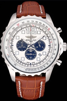 Breitling Navitimer Brown Leather Strap White Dial Replica Designer Watches