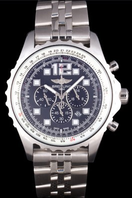 Breitling Navitimer Stainless Steel Strap Black Dial 98236 Replica Designer Watches