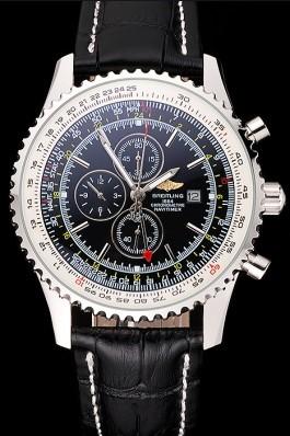 Breitling Navitimer World Black Dial Black Leather Bracelet 622513 Replica Designer Watches