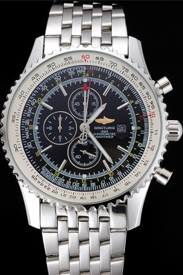 Breitling Navitimer World Black Dial Stainless Steel Bracelet 622512 Replica Designer Watches