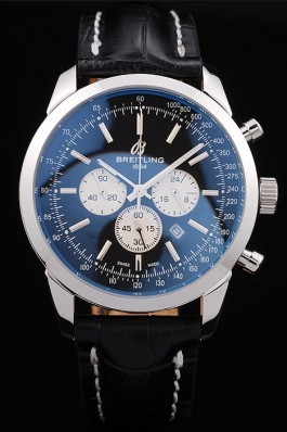 Breitling Transocean Black Dial Black Leather Strap Polished Stainless Steel Bezel Breitling Replica