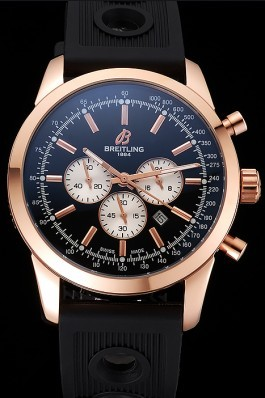 Breitling Transocean Black Dial Black Rubber Strap Rose Gold Bezel 98207 Breitling Replica