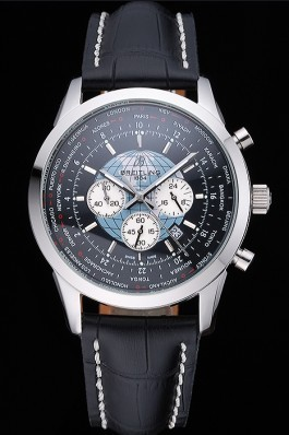 Breitling Transocean Chronograph Unitime Black Dial Stainless Steel Case Black Leather Bracelet 622242 Breitling Replica