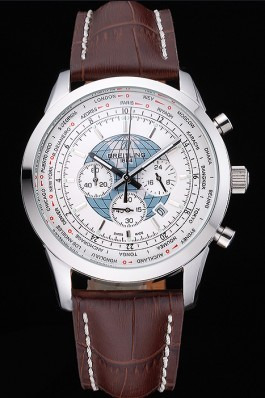 Breitling Transocean Chronograph Unitime White Dial Stainless Steel Case Brown Leather Bracelet 622244 Breitling Replica