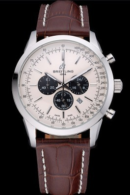 Breitling Transocean Chronograph White Dial Stainless Steel Case Brown Leather Bracelet 622243 Breitling Replica