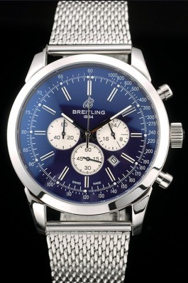 Breitling Transocean Stainless Steel Case Blue Dial Breitling Replica