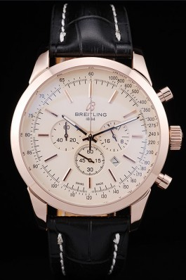 Breitling Transocean White Dial Black Leather Strap Rose Gold Bezel 98206 Breitling Replica