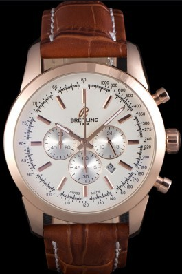 Breitling Transocean White Dial Brown Leather Strap Rose Gold Bezel Breitling Replica