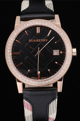 Replica Burberry The City Classic Diamonds Case Black Dial Black Bracelet  622569