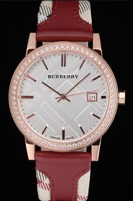 Replica Burberry The City Classic Diamonds Case Silver Dial Red Bracelet  622570