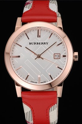 Replica Burberry The City Classic Silver Dial Red Bracelet  622567