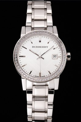 Replica Burberry The City White Dial Diamond Bezel Stainless Steel Case And Bracelet