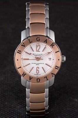 Bvlgari 27mm White Dial Roze Gold Case Two Tone Staineless Steel Bracelet Bvlgari Replica Watch