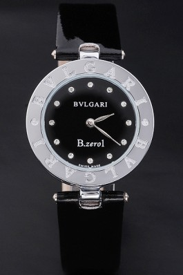 Bvlgari B.ZERO1 25mm Black Dial Stainless Steel Case Black Bezel Black Leather Bracelet Bvlgari Replica Watch