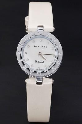 Bvlgari B.ZERO1 25mm White Dial Stainless Steel Case And Bezel Ivory Leather Bracelet Bvlgari Replica Watch