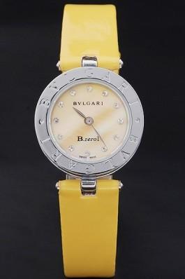 Bvlgari B.ZERO1 25mm Yellow Dial Stainless Steel Case And Bezel Yellow Leather Bracelet Bvlgari Replica Watch