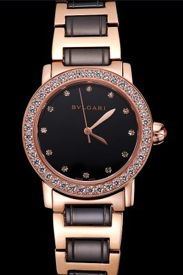 Bvlgari Bvlgari Black Dial Diamond Hourmarks Gold Case Diamond Bezel Two Tone Bracelet Bvlgari Replica Watch
