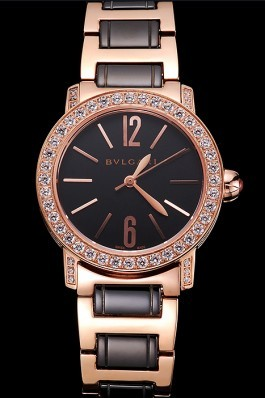 Bvlgari Bvlgari Black Dial Gold Case Diamond Bezel Two Tone Bracelet Bvlgari Replica Watch