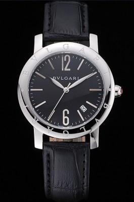 Bvlgari Black Dial Stainless Steel Case Black Leather Bracelet 622431 Bvlgari Replica Watch