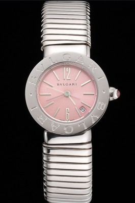 Bvlgari Bvlgari Pink Dial Stainless Steel Case And Tubogas Bracelet Bvlgari Replica Watch