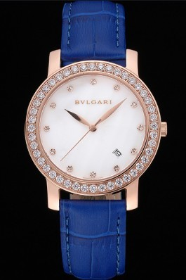 Bvlgari White Dial Diamond Case Blue Leather Bracelet 622438 Bvlgari Replica Watch