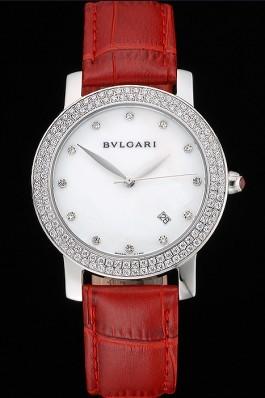 Bvlgari White Dial Diamond Case Red Leather Bracelet 622437 Bvlgari Replica Watch