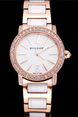 Bvlgari Bvlgari White Dial Gold Case Diamond Bezel Two Tone Bracelet Bvlgari Replica Watch