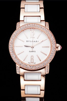 Bvlgari Bvlgari White Embossed Dial Gold Case Diamond Bezel Two Tone Bracelet Bvlgari Replica Watch