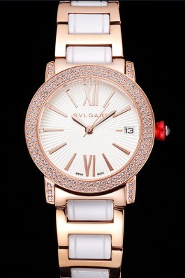 Bvlgari Bvlgari White Guilloche Dial Roman Numerals Gold Case Diamond Bezel Two Tone Bracelet Bvlgari Replica Watch