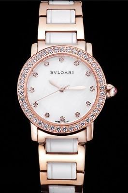 Bvlgari Bvlgari White Pearl Diamond Hourmarks Dial Gold Case Diamond Bezel Two Tone Bracelet Bvlgari Replica Watch