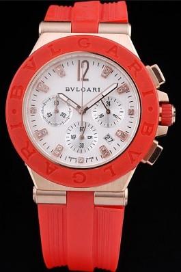 Red Rubber Band Top Quality Rose-gold Bvlgari Luxury Watch 4254 Bvlgari Replica Watch
