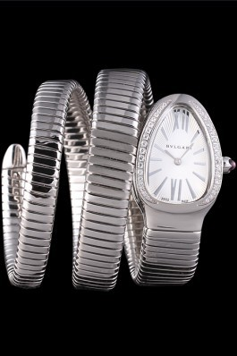 Bvlgari Serpenti 23mm White Dial Stainless Steel Case With Diamonds Double Steel Bracelet Bvlgari Replica Watch