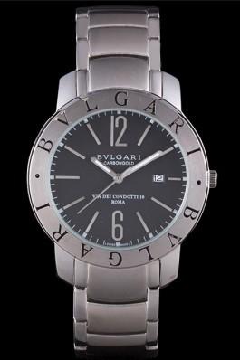 Bvlgari Bvlgari 42mm Black Dial Stainless Steel Case Two Tone Steel Bracelet Bvlgari Replica Watch