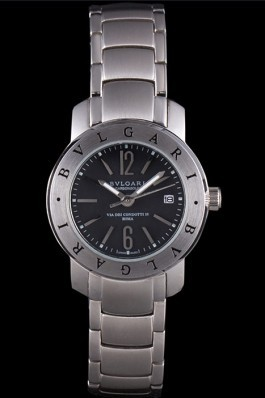 Bvlgari Bvlgari 27mm Black Dial Stainless Steel Case Two Tone Steel Bracelet Bvlgari Replica Watch