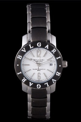 Bvlgari Bvlgari 27mm White Dial Stainless Steel Case Black Bezel Two Tone Steel Bracelet Bvlgari Replica Watch