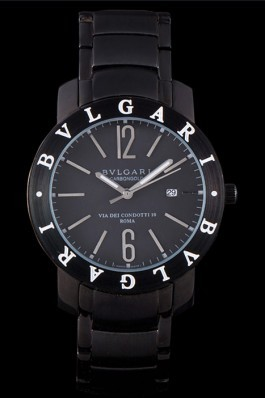 Bvlgari Bvlgari 42mm Black Dial Black Steel Case Black Steel Bracelet Bvlgari Replica Watch