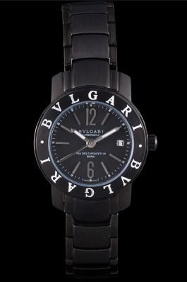 Bvlgari Bvlgari 27mm Black Dial Black Steel Case Black Steel Bracelet Bvlgari Replica Watch