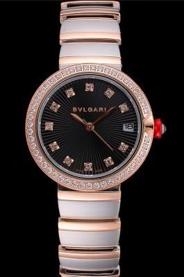 Bvlgari Lvcea Black Dial Diamond Hour Markings Rose Gold Case With Diamonds Two Tone Bracelet Bvlgari Replica Watch