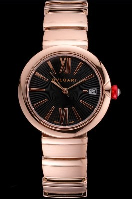 Bvlgari Lvcea Black Dial Rose Gold Numerals Rose Gold Case And Bracelet Bvlgari Replica Watch