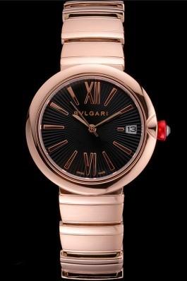 Bvlgari Lvcea Black Dial Rose Gold Numerals Rose Gold Case And Bracelet Bvlgari Replica Watch