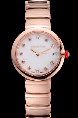 Bvlgari Lvcea White Dial Diamond Hour Markings Rose Gold Case And Bracelet Bvlgari Replica Watch