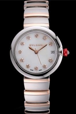 Bvlgari Lvcea White Dial Diamond Hour Markings Stainless Steel Case Two Tone Bracelet Bvlgari Replica Watch
