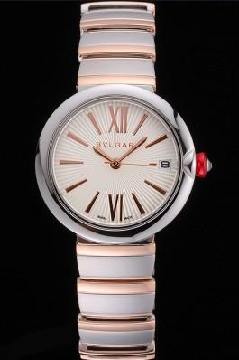 Bvlgari Lvcea White Dial Rose Gold Numerals Stainless Steel Case Two Tone Bracelet Bvlgari Replica Watch
