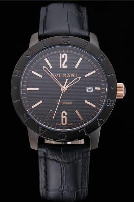 Bvlgari Novelties Black Dial Black Case Black Leather Strap  Bvlgari Replica Watch