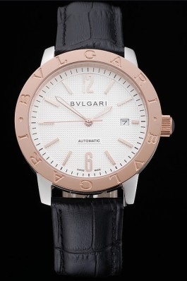 Bvlgari Novelties White Dial Gold Case Black Leather Strap  Bvlgari Replica Watch