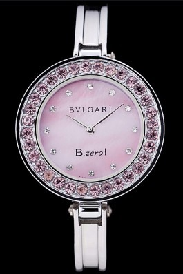 Bvlgari B.ZERO1 30mm Pink Dial Stainless Steel Case With Pink Crystals Steel Bracelet Bvlgari Replica Watch