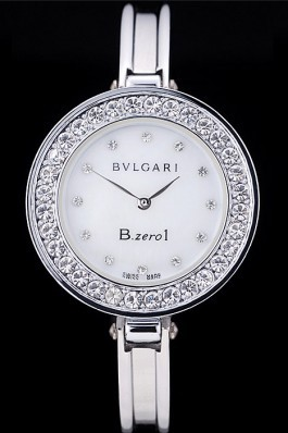 Bvlgari B.ZERO1 30mm White Dial With Diamonds Stainless Steel Case With Crystals Steel Bracelet Bvlgari Replica Watch