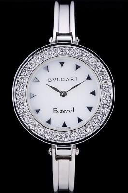Bvlgari B.ZERO1 30mm White Dial Stainless Steel Case With Crystals Steel Bracelet Bvlgari Replica Watch